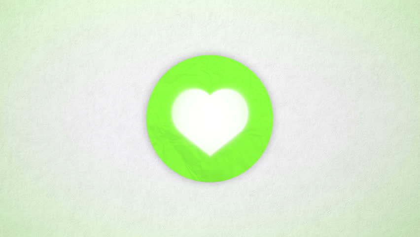 Heart animated. Shape heart in the colored green circle on the paper textured background. Valentine card, beating animated heart. Intro background for wedding, valentines day themes.