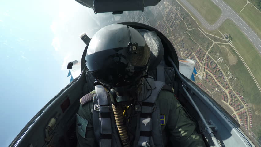 POV shot from the cockpit of a fighter plane