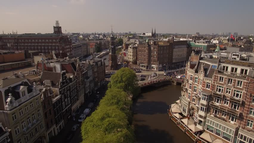 Amsterdam aerial sightseeing. Flying above old centre district. Netherlands in 4K. | Shutterstock HD Video #19810264