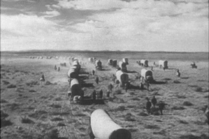 Farming equipment is developed in the 1800s when there are more crops than people to harvest them in the west (as depicted in 1954). (1950s)