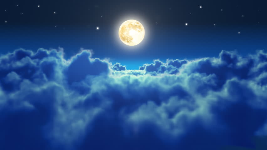 Flying over the clouds in the night with the moon. Seamless 3d animation. HD 1080.