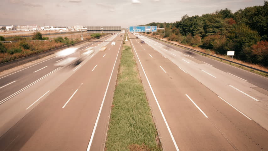 Time lapse of traffic on German highway - high-angle view from a bridge | Shutterstock HD Video #19843384