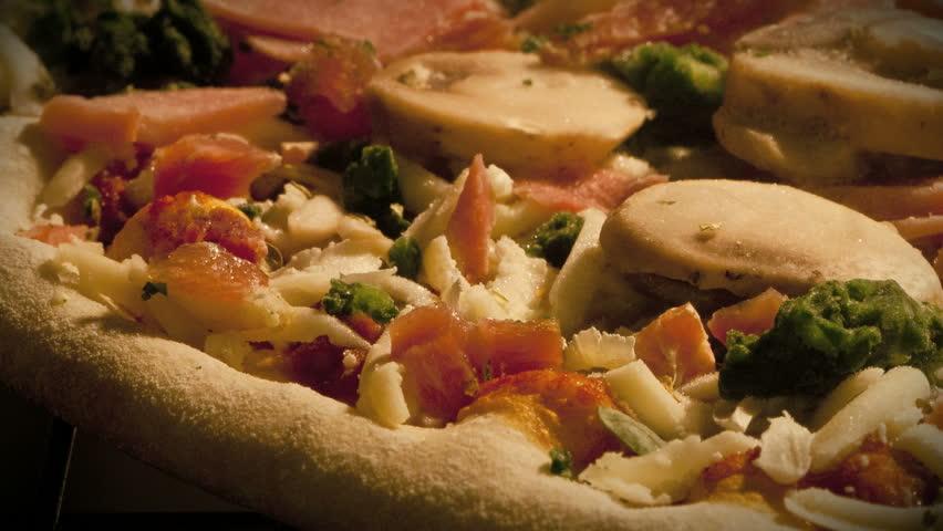 Timelapse of Pizza baking full heated Oven