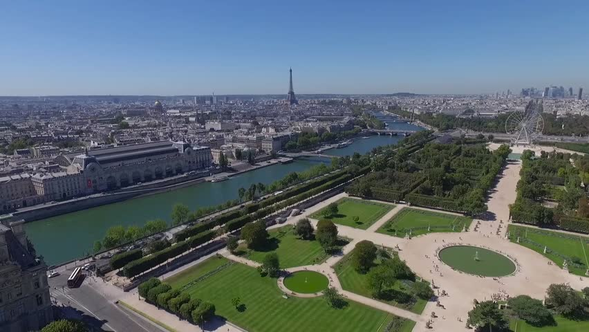 Aerial view of park and river in paris.