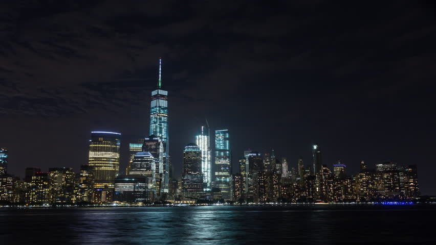 Manhattan, New York at Night With Boats and Moon Rise Timelapse | Shutterstock HD Video #19901443