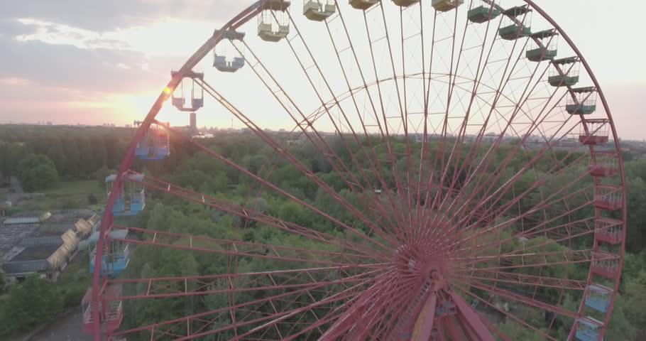 Berlin abandoned ferris wheel aerial Spree Park