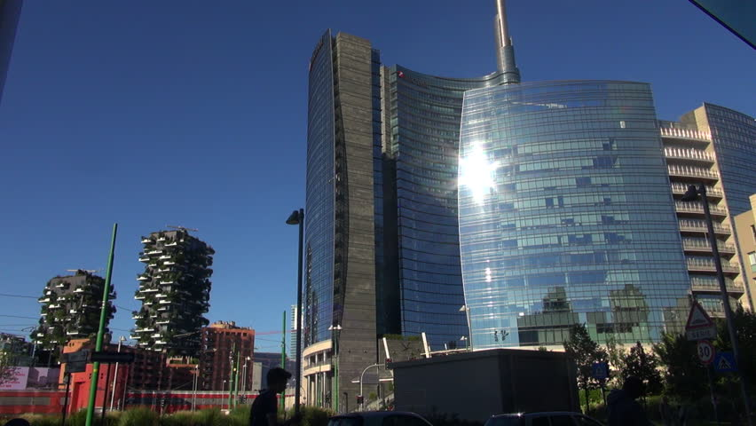 Milan, Italy, 2016: Unicredit Tower and skyscrapers of Porta Garibaldi, Vertical Forest and tower Solaria, 50fps, real time   Shutterstock HD Video #19918870