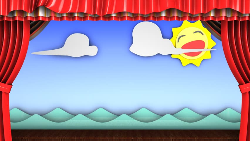 3d animation, Classic fun children's theater stage.