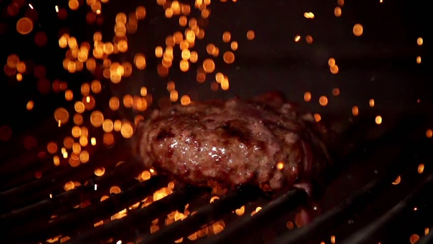 Cooking burger in slow motion | Shutterstock HD Video #19970896
