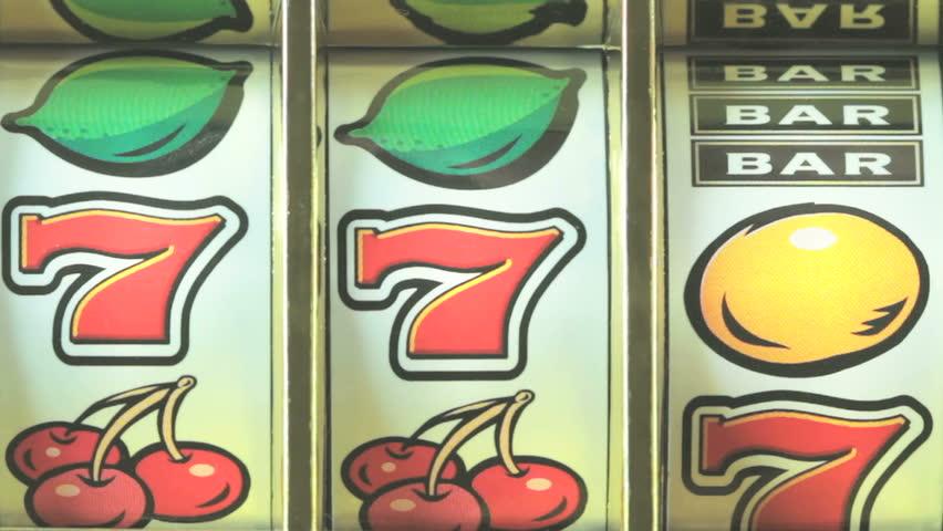 Retro fruit machine close up