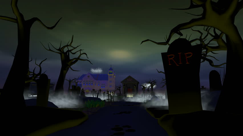 Halloween Graveyard Walk Through. Walking through a 3D cartoon graveyard, phantoms, moving statues, mist and skeletons are your companions. | Shutterstock HD Video #19984609