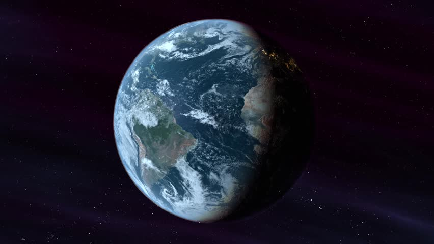Realistic Planet Earth around its own axis with Sun light in the space with stars background. Night lights city from Space. Loop sequence  | Shutterstock HD Video #19992643