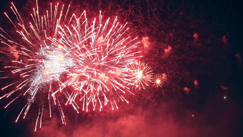 Happy New Year multiple fireworks. | Shutterstock HD Video #20019631