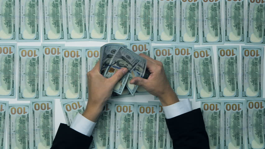 Cash, money, lot of hundred new dollar banknotes. Man counting money, new US dollars. Financial income, wages, sell, loan. | Shutterstock HD Video #20044285
