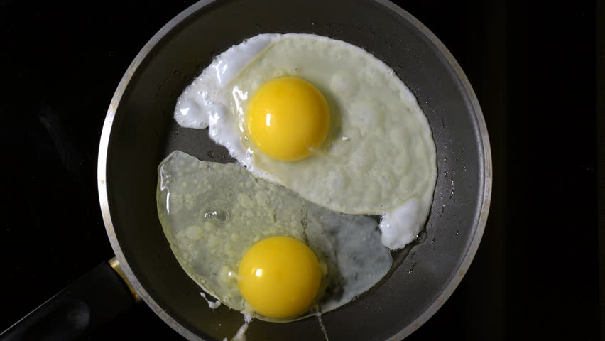 Cooking eggs in a frying pan. Time Lapse. Top view. #20045515