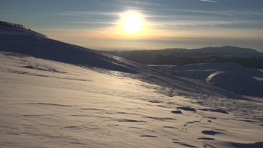 4K Blizzard in Mountains at Sunset, Winter View, Alpine Landscape, Ski Resort  | Shutterstock HD Video #20048452