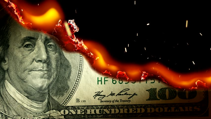 Dollar bill USA money burning in flames, economic crisis or inflation concept. UHD | Shutterstock HD Video #20048959