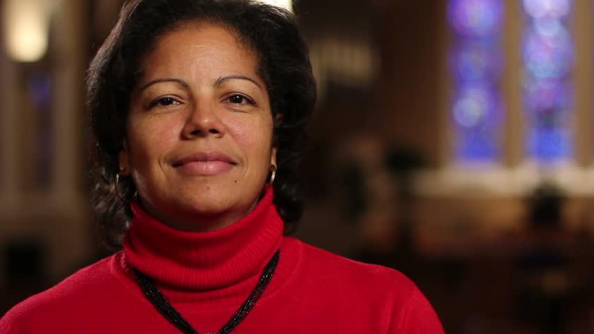 Woman at church, looking at camera   Shutterstock HD Video #2005844