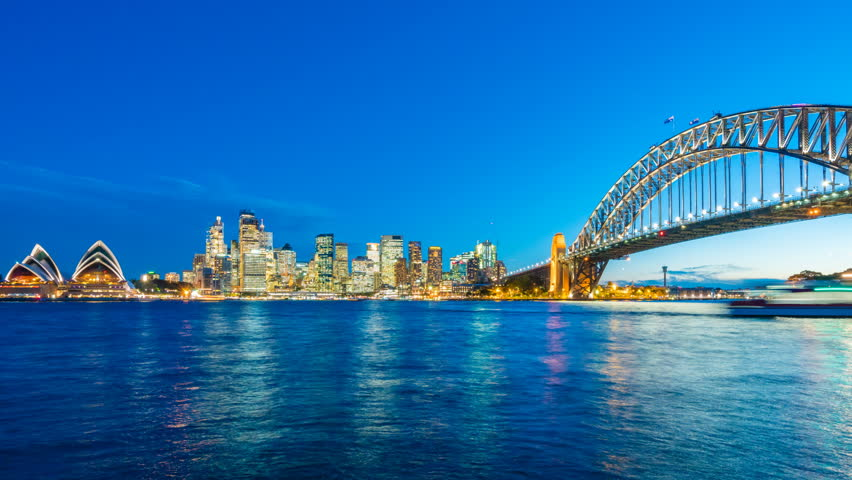 4k timelapse video of Sydney CBD from sunset to night, with view of Harbour Bridge and Opera House