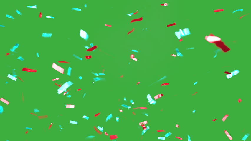 Real falling confetti in the colors cyan and red for  advertising, family, club, victories, national or company celebration | Shutterstock HD Video #20073106