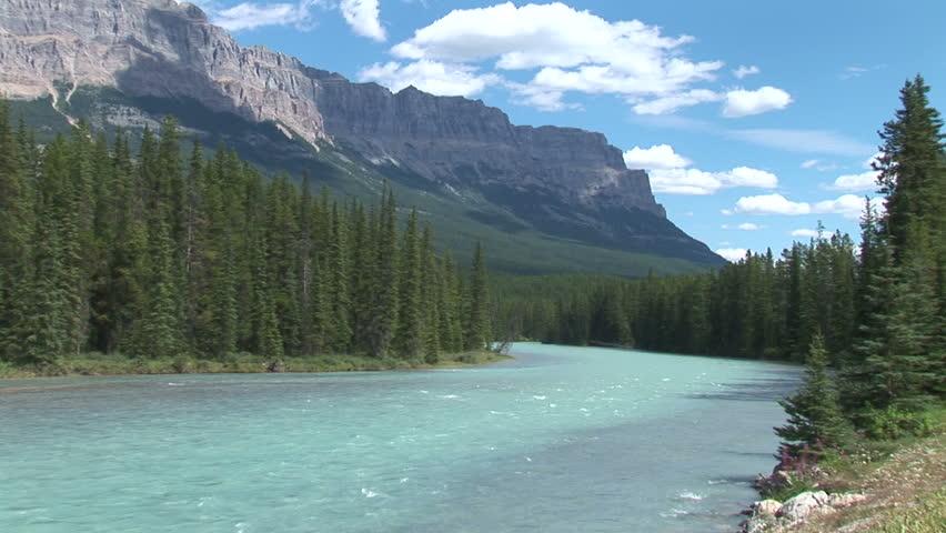 Bow river in Banff, Alberta, CA   Shutterstock HD Video #2007989