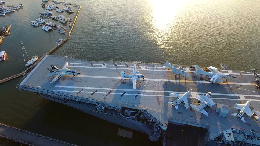 4k Aerial of Retired Aircraft Carrier Battleship In Charleston South Carolina. Navy aircraft battleship used during combat.