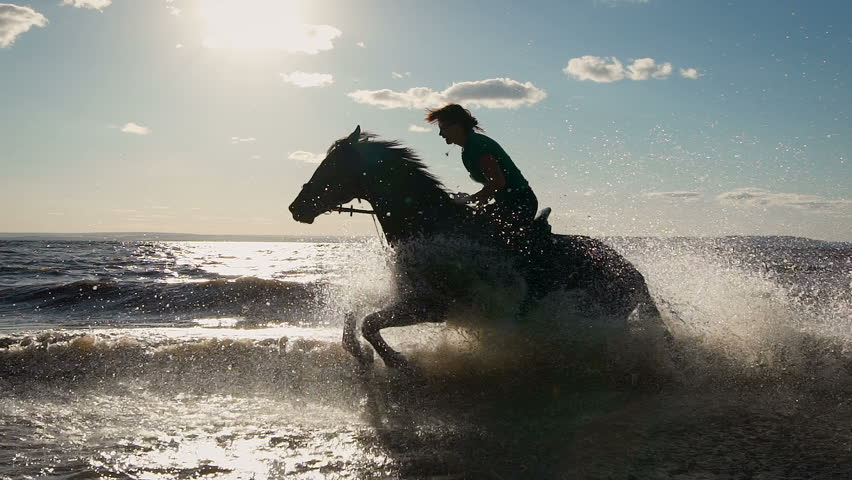 Beautiful young women horse riding at a beach. Enjoying beautiful landscape. Galloping at a marvelous lake | Shutterstock HD Video #20103259
