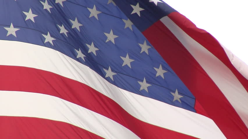 US Flag slow-motion blowing in the wind.