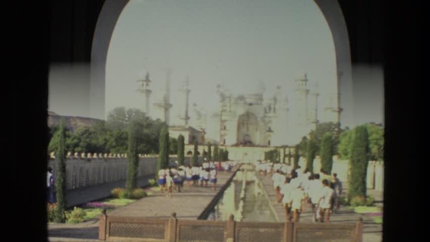 INDIA 1974: Taj mahal national monument museum shining in perfect light.
