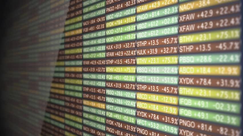 Old School Stock Exchange Tickers Flickering Rapidly