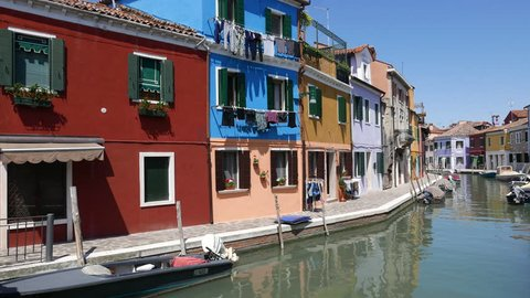 BURANO, ITALY - MAY 08, 2016: View of Burano, Italy, an island with colorful architecture in the Venetian Lagoon.