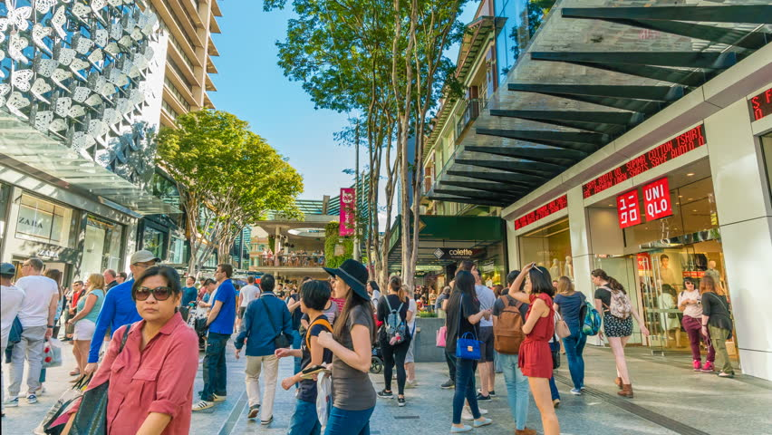 Brisbane, Australia - Sep 25, 2016: 4k hyperlapse video of walking in the Queen Street Mall in Brisbane, Australia. It is a popular shopping precinct in Brisbane.