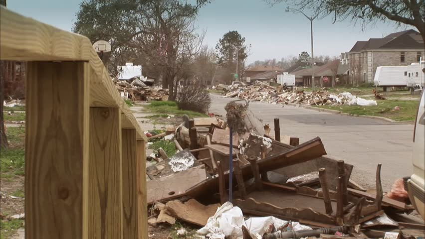 Destroyed homes in New Orleans from hurricane Katrina