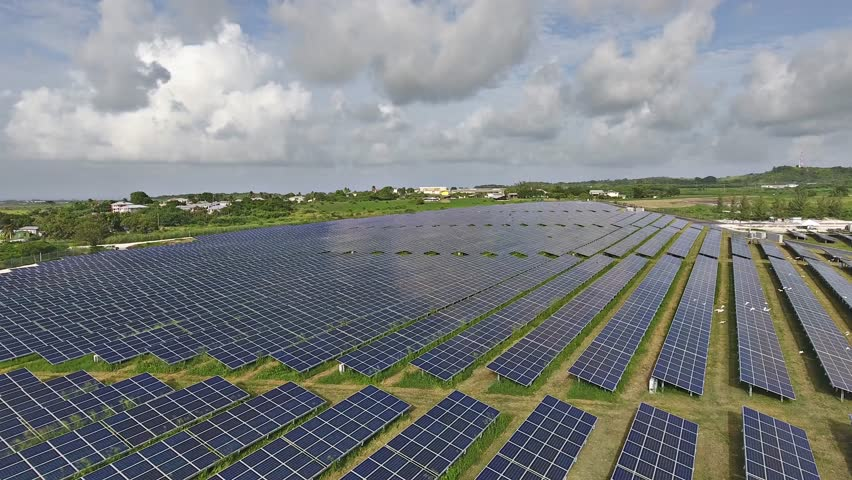 Large Renewable Green Energy Solar Farm with many Photovoltaic Panels across Acres of land in the Caribbean  - 8 October 2016