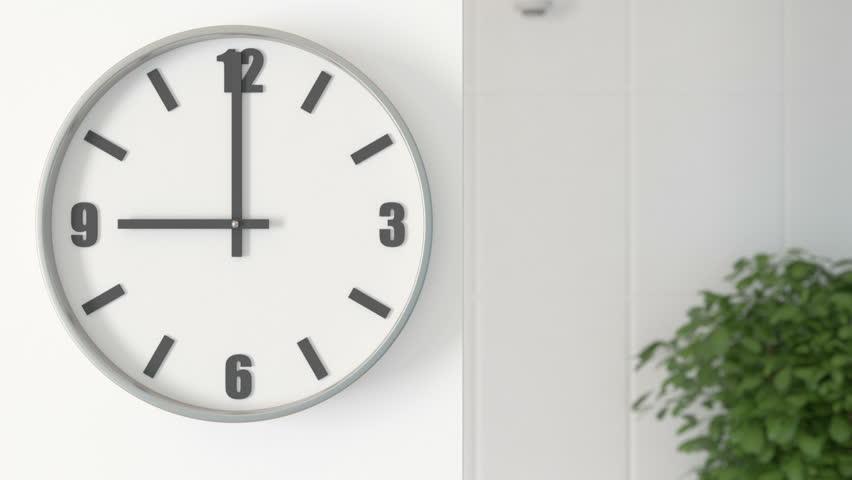 Office Clocks on white wall - timelapse