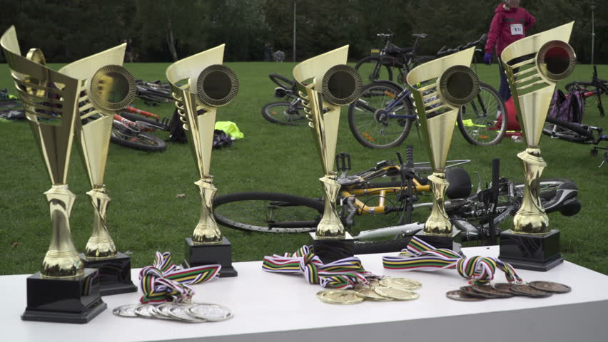 Prague 4, CZ - 05 October 2016: Six Golden Cups Award in local school cup cycle sport Editorial.