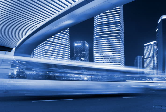 The light trails of city traffic on the modern building background in Shanghai Pu-dong, China. | Shutterstock HD Video #2028268