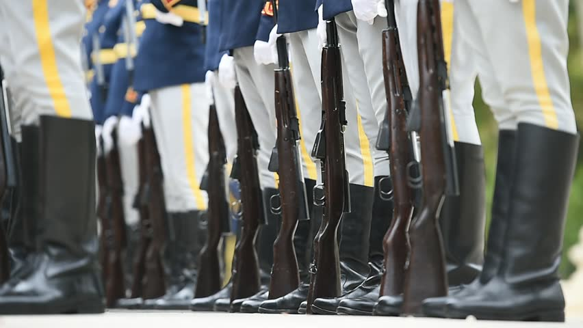 Soldiers in rifle rest position during a military ceremony | Shutterstock HD Video #20287717