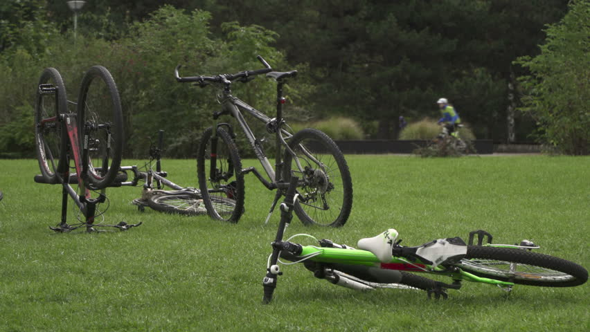 Bike Cycle sport  with cyclists on background in local social park in Prague.