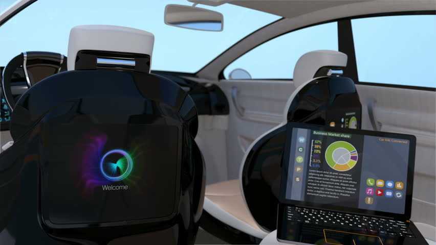 Self-driving SUV interior concept. Front seats with big LCD screen for entertainment or business needs. 3D rendering animation | Shutterstock HD Video #20302777