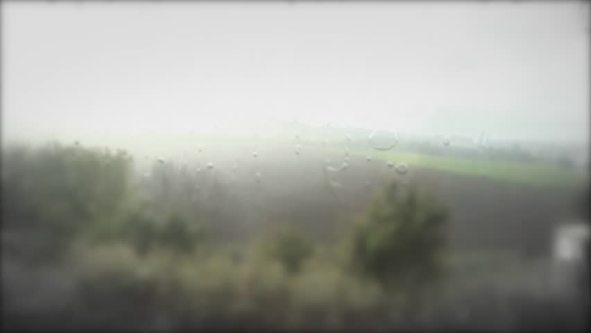 Train traveling on rainy day ,window on the train with rain drops and moving landscape | Shutterstock HD Video #20307940