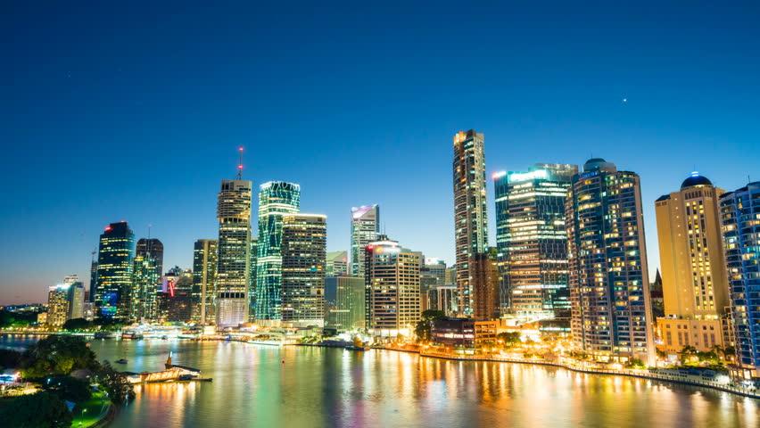 4k hyperlapse video of Brisbane CBD at night