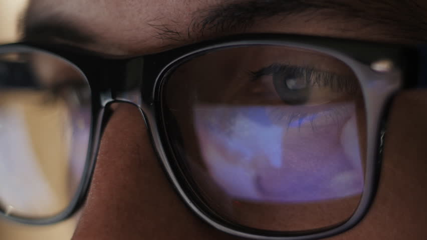 Man watching nude content on internet reflection on glasses | Shutterstock HD Video #20334961