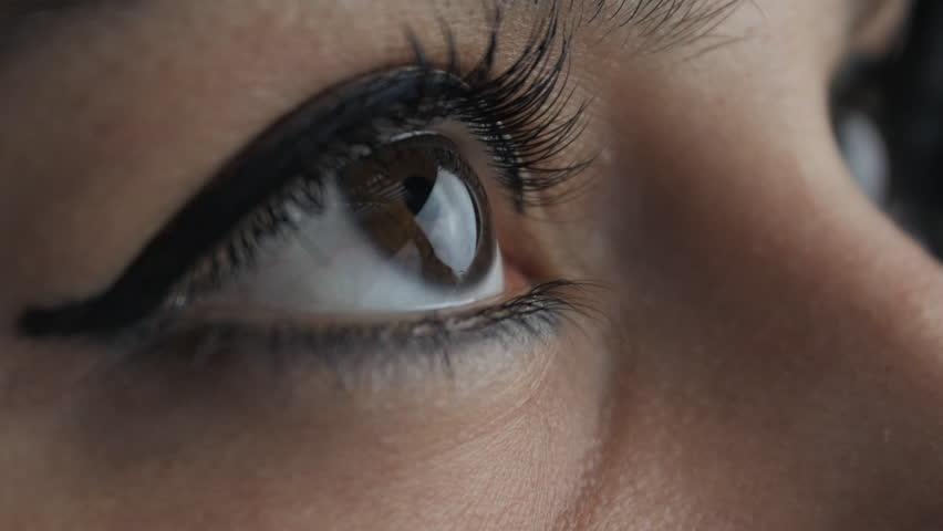 Close up big woman's brown eyes