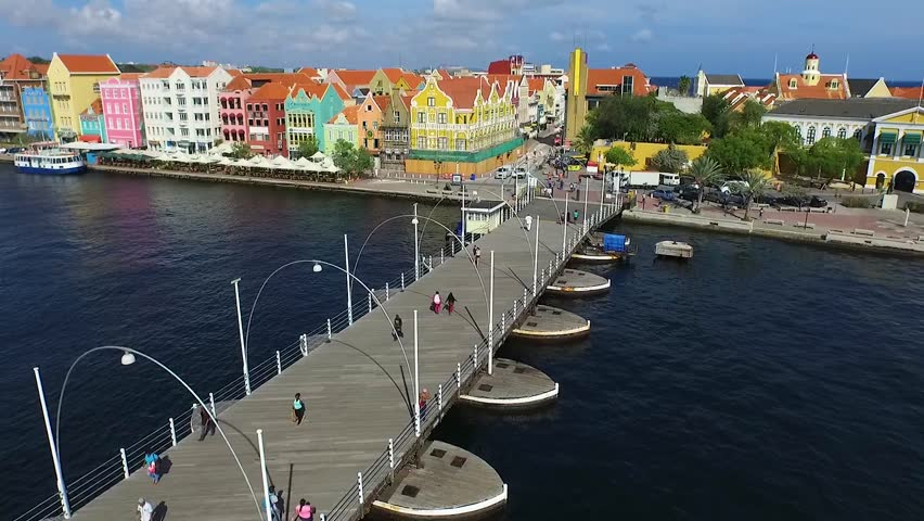 Aerial lift overview of Queen Emma Bridge and Punda in Curacao