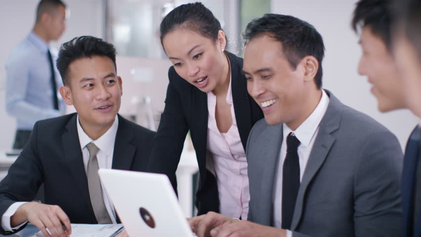 4K Asian corporate business group looking at computer in a meeting start clapping. Shot on RED Epic. | Shutterstock HD Video #20373430