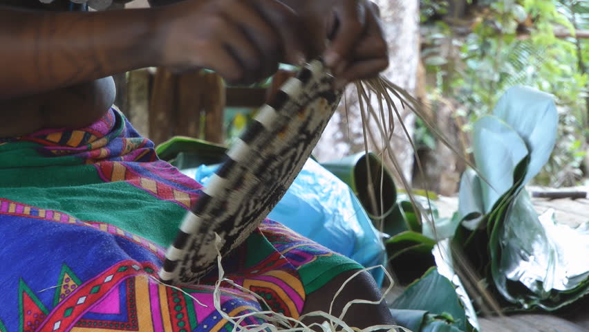 An Embera Indian Woman Is Weaving Palm Fibers To Make A Traditional Plate, Her Body Is Decorated With Jagua Body Painting Tattoos Living In The Chagres National Park, Colon, Panama