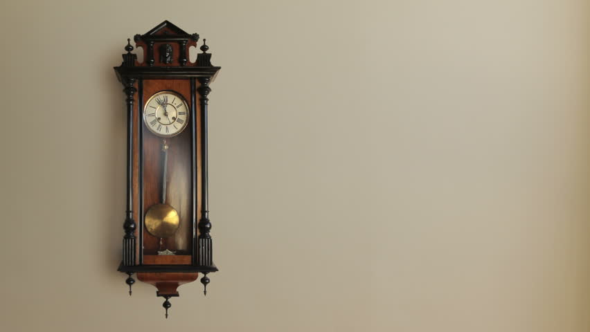 Vintage grandfather clock ticking on wall. Loop-able and includes luma matte for easy isolation (add a drop shadow when comping). Includes original high quality audio.