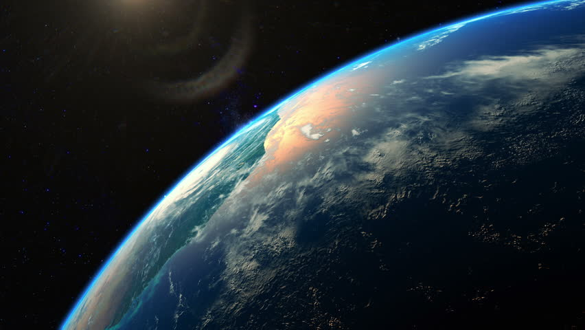 Beautiful realistic sunrise over planet Earth seen from space. Earth rotation. 4K highly detailed 3d render. #20384908