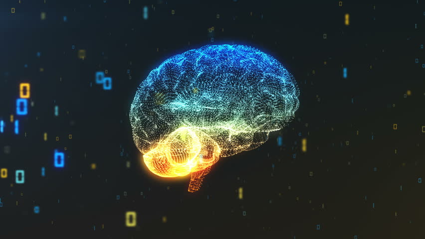 Digital abstract brain in a cloud of binary data